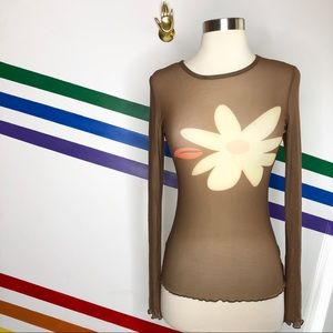 NEW Out from Under sheer flower long sleeve top